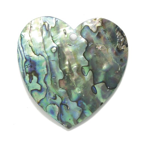 Shipwreck Beads Abalone Large Heart Pendant, 60-mm, Average