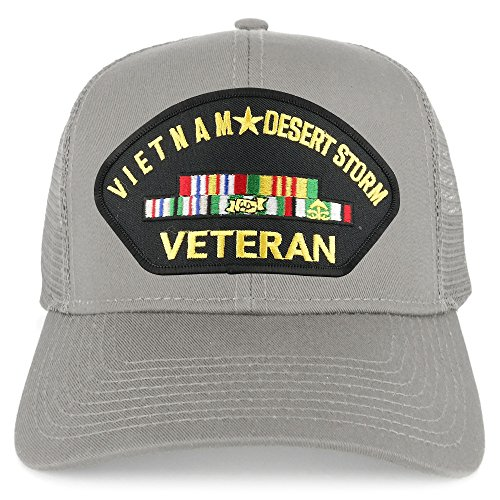 Armycrew Vietnam and Desert Storm Veteran Embroidered Patch Snapback Mesh Trucker Cap - Grey
