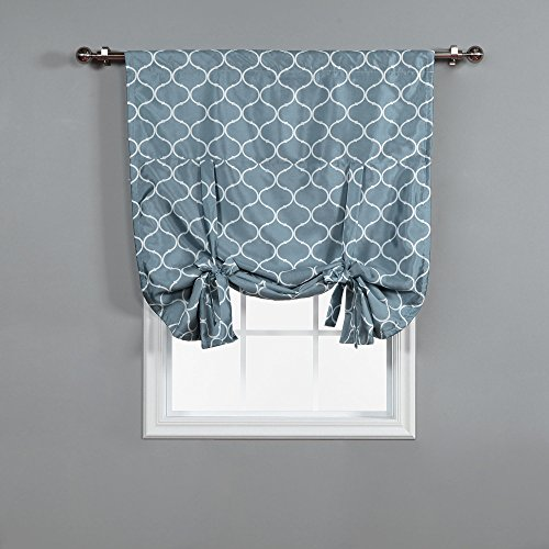 Cheap Best Home Fashion Faux Silk Blackout Quatrefoil Shade  – Tie-up – Lagoon – 42″W x 63″L -(1 Panel)