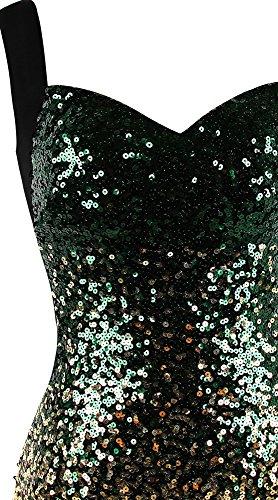 Angel-fashions Mujer con Aberturas Trajes de Gala Gradiente Oro Verde