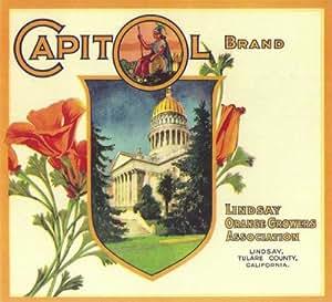 Lindsay, Tulare County Capitol California Poppy Flowers Orange Citrus Fruit Crate Box Label Art Print