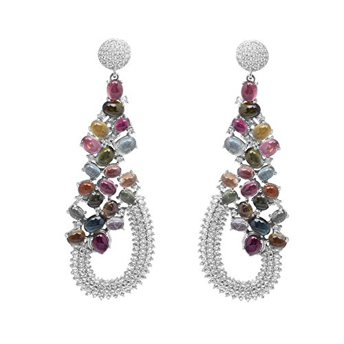 Multi Color Tourmaline Gemstone 925 Sterling Silver Cluster Statement Earring