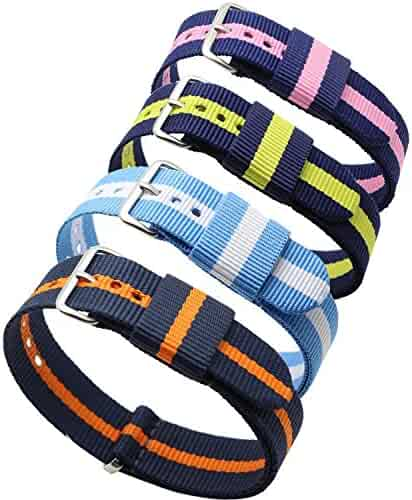 4pc 20mm Nato Ss Nylon Striped Blue /Yellow,Blue/Orange,Blue/Pink,blue/white Replacement Watch Strap Band