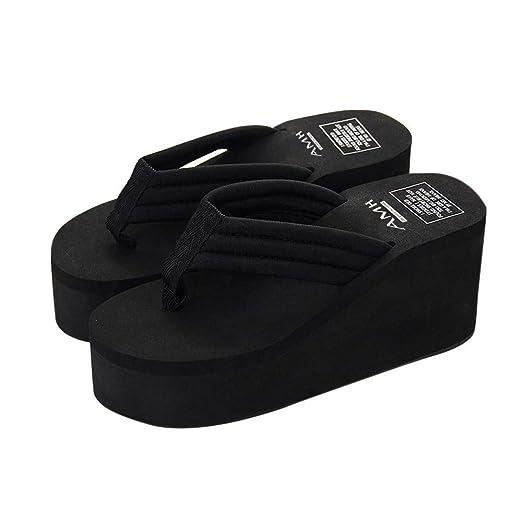 Amazon.com: YANG-YI Summer Wedge Slipper Ladies Clip Toe Platform ...