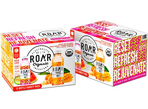 ROAR Natural Organic Coconut water with Electrolyte Infusions-12 Bottle Variety Pack Mango Clementine + Cucumber Watermelon