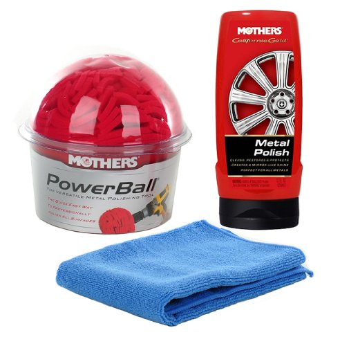Mothers Power Ball and PowerBall Metal Polish plus one 16x16 Microfiber Towel Combo Pack (Mothers Billet Metal Polish)