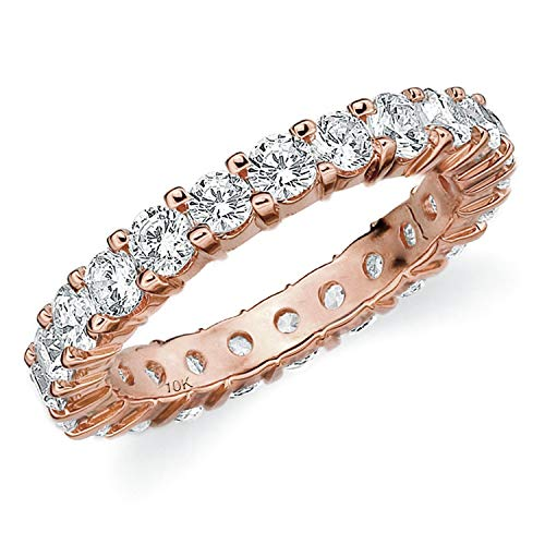2CT Passion Eternity Diamond Ring in 10K Rose Gold Shared Prong Setting - Finger Size 6.5