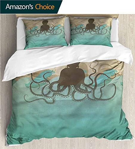 Kas Oriental Multi Waves - carmaxs-home Full/Queen Size Quilt Bedding Set,Box Stitched,Soft,Breathable,Hypoallergenic,Fade Resistant Kids Bedding -Double Brushed Microfiber -Octopus Vintage Marine Waves Ocean (87