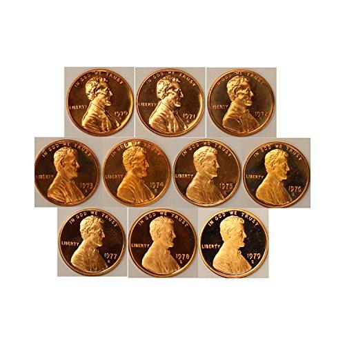 1970-1979 Lincoln Memorial Cent Gem Proof Coin 10 Coin Run U.S. - Stores Memorial