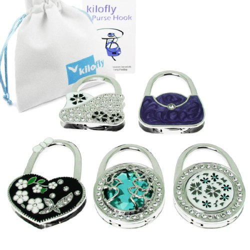 (kilofly Purse Hook [Set of 5] - Foldable - Floral Lake, with kilofly Pouch)