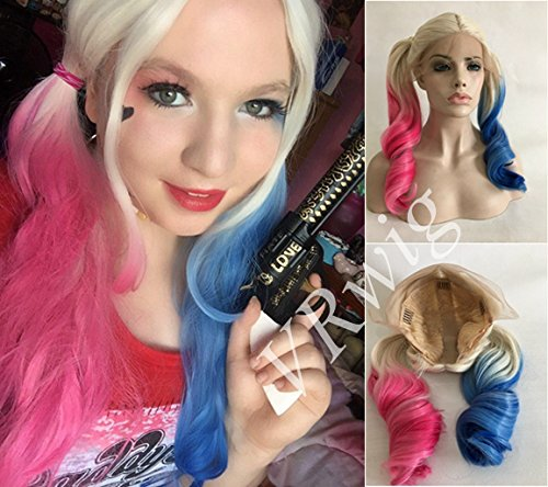 VRwig Natural Big Loose Wave Blonde Ombre Pink Blue Wig Heat Resistant Cosplay Synthetic Hair Fiber Lace Front Wig 22 Inches ()