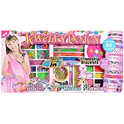 FairyStar 4 in 1 DIY Jewelry Making Kit Design Rings Bracelets Necklace Hair Decro to Wear Friendship Craft Kits