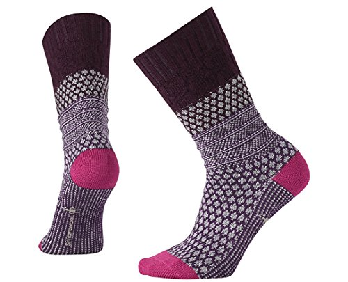 Smartwool Women's Popcorn Cable Lifestyle Socks (Bordeaux Heather) Large