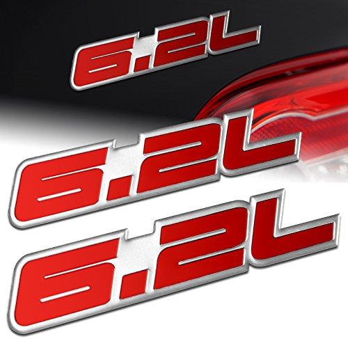 2 PCS Red Font Chrome Boarder 6.2L 6.2 Chevy Camaro SS Corvette Cadillac L99 LS3 LSA C6 Pontiac G8 GXP V8 Vauxhall VXR8 Aluminum Adhesive Bumper Trunk Emblem Badge Sticker Decal