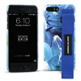 iPhone 6 Plus/ 6s Plus/ 7 Plus/ 8 Plus Case, DesignSkin [Graphic Strap] Hand Strap Holder Grip Adjustable Hook/Loop Band Adhesive Velcro Kickstand Unique Street Fashion Style Hard Cover- Marble/Blue