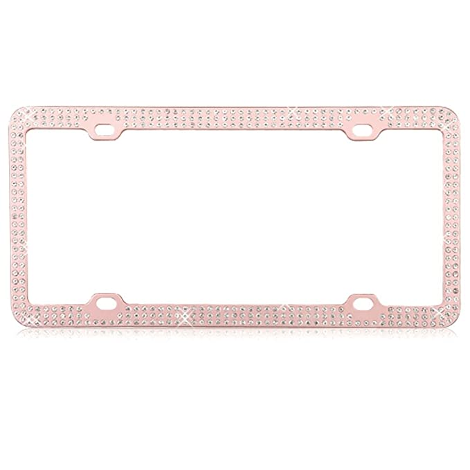 Amazon.com: MyCellCovers Triple Row Diamond Rose Gold License Plate ...