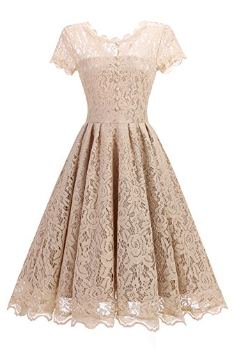 SOVIYAS Womens Retro Floral Lace Cap Sleeve Vintage Swing Bridesmaid Dress,Champagne,Medium