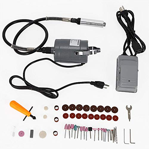 Variable Foot Pedal - 55pc Electric Flexible Shaft Die Carving Grinder Rotary Tool Variable Speed Foot Pedal Kit (USA Stock)