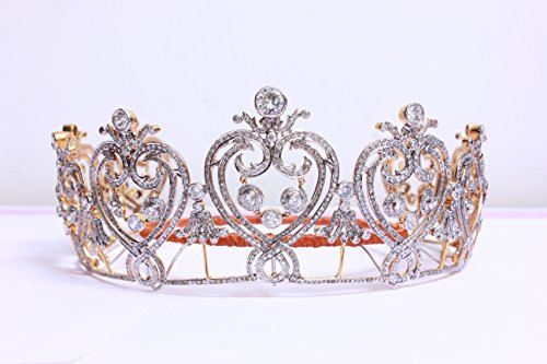 Sterling silver wedding Tiara with Natural diamonds and zircon by Pushpa Jewels
