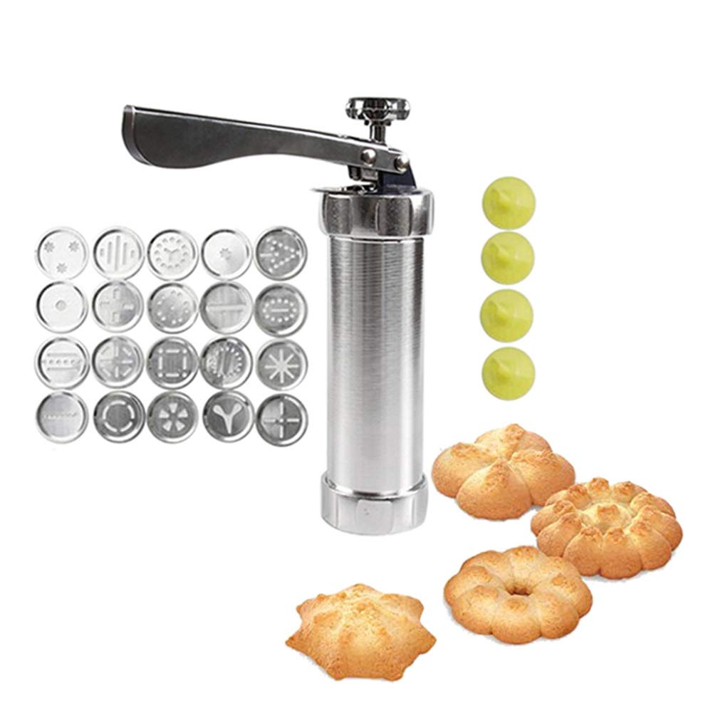 LYOOLY Cookie Press Biscuit Maker Cookie Presses Cheese Dessert Spritz Cookies Press with 20 Disks and Icing Tips, Comfort Grip Cake Decorator Gun Kit