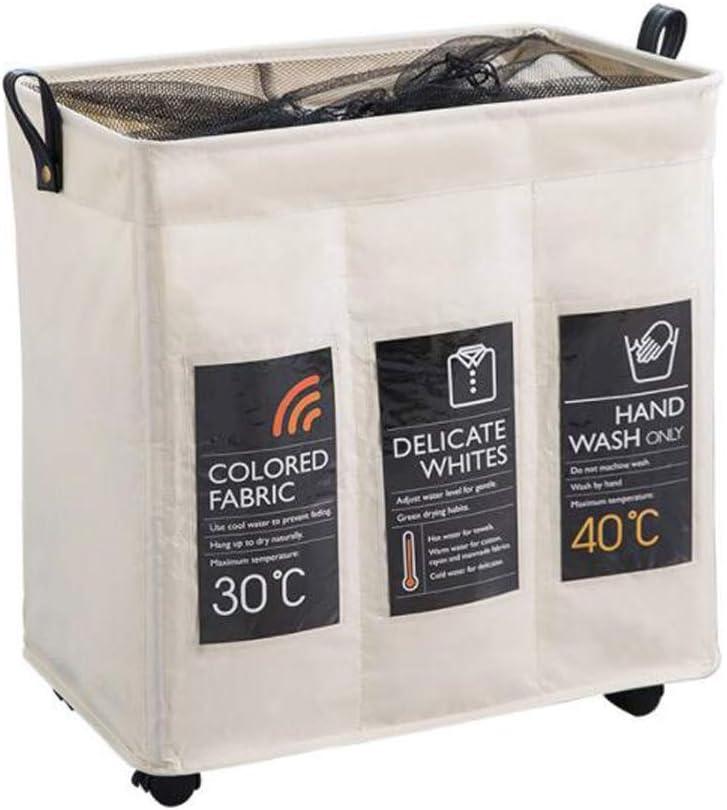 Doubleblack Laundry Basket Bag 3 Section Dark Light Dirty Clothes Sorter Hamper Wheel Cart Bin Collapsible Fabric