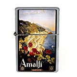 Wind Proof Dual Torch Refillable Lighter Vintage Poster D-021 ITALY VINTAGE TRAVEL Amalfi 1910