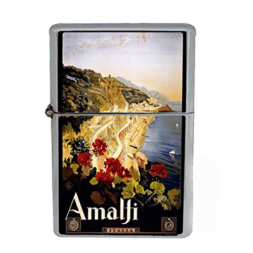 Wind Proof Dual Torch Refillable Lighter Vintage Poster D-021 ITALY VINTAGE TRAVEL Amalfi 1910 by Perfection In Style
