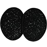Ear Mitts Black Sparkle Bandless Ear Muffs, Black Regular