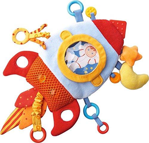 HABA Rocket Teether Cuddly - Machine Washable Plush Activity Toy with Teething Elements - Baby Rocket Ship