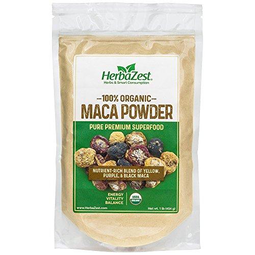 Maca Powder 16 Oz Bag (100% Organic Maca Powder from Peru | PREMIUM and USDA Certified | Sourced Directly from Farmers | NUTRIENT-RICH Blend of Yellow, Purple, & Black Maca | 16 oz. Bag | HerbaZest)