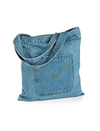 Blue Denim Front Pocket Design Tote Bag Shopper Bag Shoulder Beach