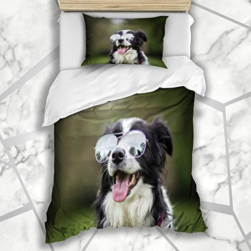 - Ahawoso Decorative Duvet Cover Sets Twin 68X90 Inches Pup Border Funny Cute Adorable Young Black Light White Collie Parks Green Dog Outside Pet Design Microfiber Bedding with 1 Pillow Shams