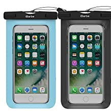 2 Pack Waterproof Case,iBarbe Universal Cell Phone Plasic TPU Dry Bag for iPhone 7 7 plus 6S 6/6S Plus 5/S/SE 5C samsung galaxy Note 5 s8 s8 plus S 8 S7 S6 Edge s5 etc.to 5.7 inch,Black+Blue