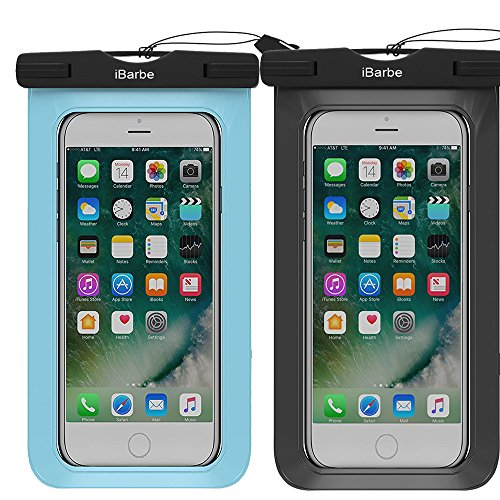 Price comparison product image 2 Pack Waterproof Case,iBarbe Universal Cell Phone Plasic TPU Dry Bag for iPhone 7 7 plus 6S 6/6S Plus 5/S/SE 5C samsung galaxy Note 5 s8 s8 plus S 8 S7 S6 Edge s5 etc.to 5.7 inch,Black+Blue