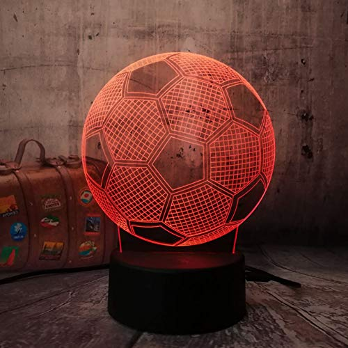 KAIYED Night Light 3D Football Soccer Home Decoration Kid Sleep Lamp Touch Sensor Night Light Madrid Fans Gift 7 Color Chang Desk Sleep Lamp