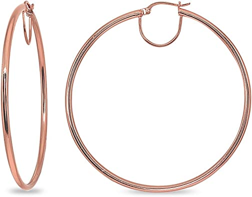 2x50mm - 70mm Diameter Rose Gold Flash Sterling Silver Polished Round Large Hoop Earrings for Women Girls