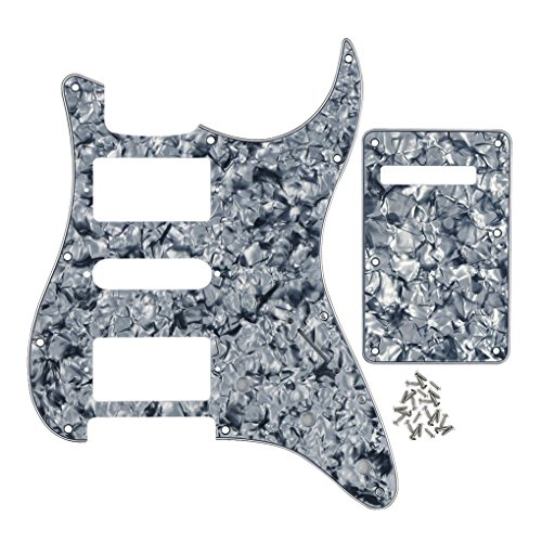 Pearloid Tremolo Cover - FLEOR 11 Hole HSH Strat Pickguard HSH Scratch Plate & Tremolo Cavity Cover Guitar Backplate w/Screws for American/Mexican Standard Strat Modern Style Guitar Replacement, 4Ply Pearl Gray