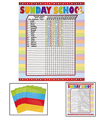 Sunday School Attendance Sticker Charts (Includes six 17