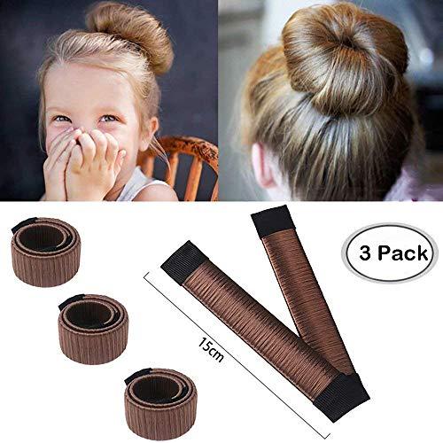 Aisonbo Hair Bun Maker, Size 5.9 inch Magic Bun Shaper Donut Hair Styling for Kids Curler Roller Dish Headbands,3 Pack,Dark Brown