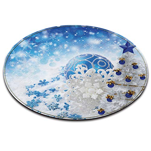 LB Christmas Tree Snowflake Ball Ornaments Decor Round Rug Mat, Winter Holiday Themed Area Rug Mat for Living Room, Flannel Microfiber Surface Memory Foam Pad, 4 Ft Diameter