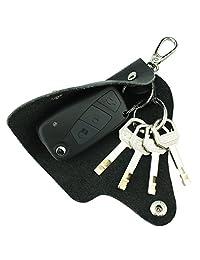 MuLier Top Grain Genuine Leather Car Smart Key Chain Case Pocket Mens Key Holder (Black)