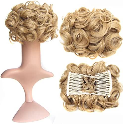 SWACC Short Messy Curly Dish Hair Bun Extension Easy Stretch hair Combs Clip in Ponytail Extension Scrunchie Chignon Tray Ponytail Hairpieces (Honey Golden Blonde-18#)