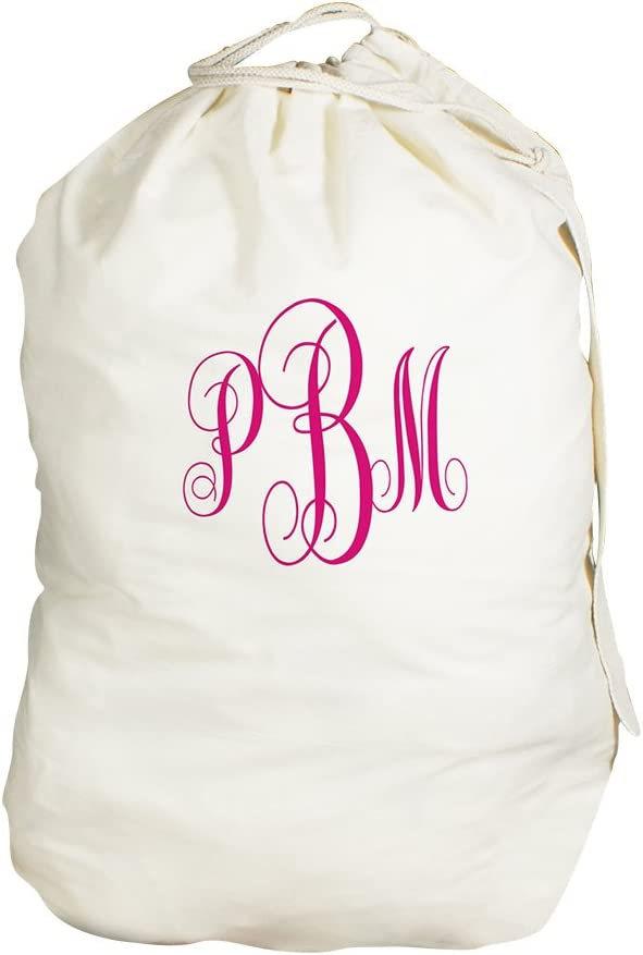 "GiftsForYouNow Script Monogrammed Laundry Bag, 19"" x 27"", Drawstring & Shoulder Strap, Personalized Laundry Bag, Laundry Bag, Monogram, College, Back to School, Dorm, Cotton, Washable"