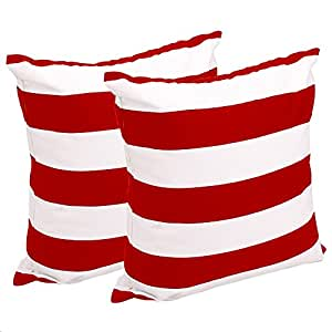 FashionMall Set of 2, Soft Cotton Canvas Stripe Pattern Pillowcase Pillow Covers, 17 Inch X 17 Inch, Red and White Stripes