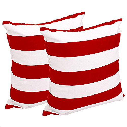 FashionMall Set of 2, Soft Cotton Canvas Stripe Pattern Pillowcase Pillow Covers, 17 Inch X 17 Inch, Red and White Stripes (Red And White Throw Pillows)