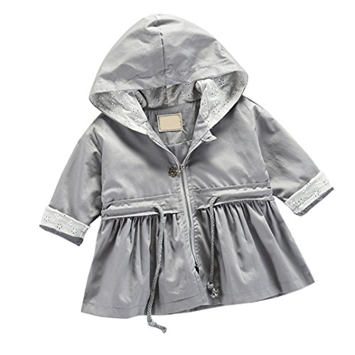 Toddler Winter Warm Trench Coat Windbreaker Jacket Outwear Parka for Kids Baby Girls by CSSD (0M-12M, Gray) (Spring Breaker Halloween Costume)