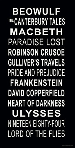 English Literature Subway Stop Sign Poster Featuring The Classic Novels Macbeth, Pride and Prejudice, Lord of The Flies and More. (Examples Of Prejudice In Pride And Prejudice)