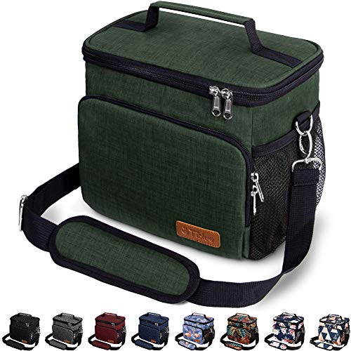Insulated Lunch Bag for Women/Men - Reusable Lunch Box for Office Work School Picnic Beach - Leakproof Cooler Tote Bag Freezable Lunch Bag with Adjustable Shoulder Strap for Kids/Adult - Retro Green