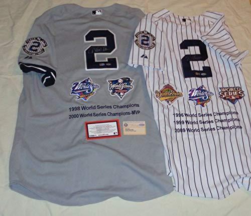 (Yankees Derek Jeter Autographed Signed 5X World Series Champions Jersey Set Of 2 - Authentic Memorabilia )