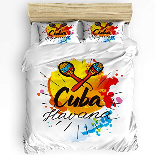 (3 Piece Bedding Set Queen, Cuba Havana Illustrations of Humanities Duvet Cover Set for Girls Boys Children Adult, Ultra Soft and Easy Care Sheet Quilt Sets with Decorative Pillow Covers)
